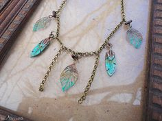 Earthy Necklace Vintage Necklace Leaf Charm Necklace by SierDreamS