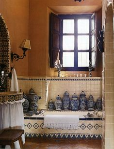 Bathroom in San Miguel, Mexico. Capture the spirit of authentic Mexico with Talavera from http://www.lafuente.com/Mexican-Decor/Talavera-Pottery/ #home / nice for master