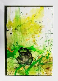 Frosch: Mittagszeit für alte oder neue Bilderrahmen geeignet. original - Werbeaktion 38 Euro  Ca. 30 x40 cm incl. Passepartout