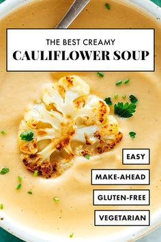 This cauliflower soup recipe is the BEST! Roasted cauliflower makes it taste amazing, and a little butter makes it luxuriously creamy, without adding any cream. It's perfect with sandwiches, salads and more. #cauliflowersoup #creamysoup #vegetarian #cauliflowerrecipe #cookieandkate