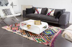 Tapis boucherouite multicolore motif arlequin