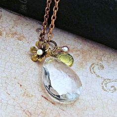 Crystal Pendant Necklace Chandelier by laurenblythedesigns on Etsy, $36.00