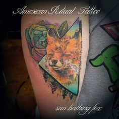 Sin bathing fox. I didn't want to correct the auto-fill. #foxonafox #inkedgirls #inked #americanritualtattoo #geometry #nature #fox #color #flowers #tri #blend #art #artist #artistic_share #instagood #instatattoo #neo #new #tacomatattooartist #pnwonderland #pnw #northwest #bieber # #occult #sin by americanritualtattoo