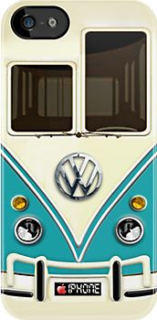 """""""Blue Volkswagen VW with chrome logo iPhone 5, iphone 4 4s, iPhone 3Gs, iPod Touch 4g case #iphone #5 #4 #4s #3gs #ipod #volkswagen #vw #blue #minibus #minivan #kombi #camper"""