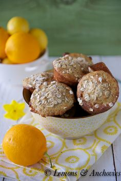 Meyer Lemon Poppy Seed Oatmeal Muffins {Low Fat} from @Jean Pope | Lemons & Anchovies
