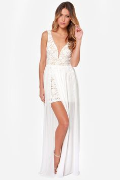 Literally nowhere to wear this ever. but its so so cute!  Make Way for Wonderful Ivory Lace Maxi Dress at LuLus.com!