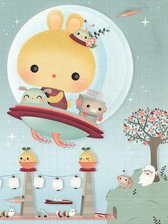 Space bunny #art #illustration #bunny #cute #kawaii