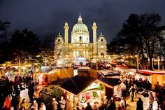 """Vienna, Karlsplatz - """"Perfect Christmas""""? Austria again is your answer.  A lot of cities around the world (especially in Europe) fill the weeks of November and December with Christmas markets that makes it so unfair to pick out only one. But Vienna for example is a special case. The Christmas Markets in the lovely Wien truly are an age-old tradition. You will find Vienna's prettiest squares transformed into magical Christmas places."""