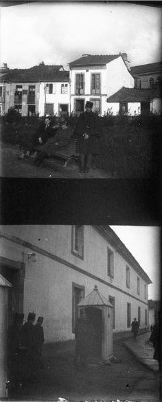 Xardín e cuartel de San Fernando, Lugo. Ca. 1920. Placa de cristal. Bromuro rápido ou clorobromuro lento.