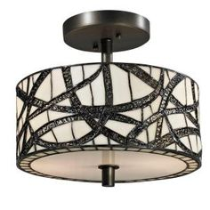 Dale Tiffany Willow Cottage 2-Light Dark Bronze Semi-Flush Mount Light-TH12413 - The Home Depot