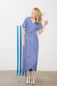 IMRECZEOVA SS18 striped wrap dress 60 Degrees, Wrap Dress, Clothes For Women, Lady, Clothing, Dresses, Fashion, Outerwear Women, Outfits