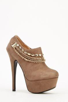 Embellished Suedette Platform Heeled Boots