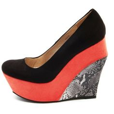Sueded Color Block Snakeskin Wedge ($19) ❤ liked on Polyvore