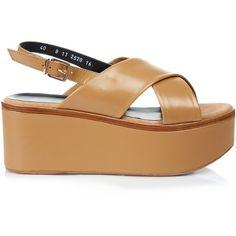 Robert Clergerie Flix leather flatform sandals (2,020 HKD) ❤ liked on Polyvore featuring shoes, sandals, light tan, adjustable strap sandals, wide strap sandals, wide sandals, strappy leather sandals and chunky-heel sandals