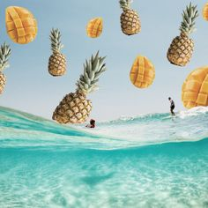 SUMMER ~ Raining fruit in Byron Bay  #byronbay #summertime #pineapple #mango #ocean #newsouthwales #australia #surfing