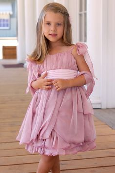 Sweet Pattis Dusty Pink Rose Chiffon with Pleated Bodice Dress possibly for Brooklynn :)