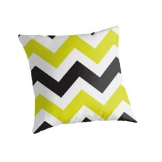"""""""Zig Zag Zog"""" Throw Pillow http://www.redbubble.com/people/angeflange/works/9691417-zig-zag-ipad-chartreuse-and-black?p=throw-pillow"""