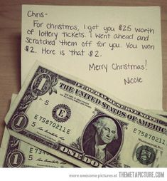 Funny pictures about Lottery tickets are the best last minute Christmas gifts. Oh, and cool pics about Lottery tickets are the best last minute Christmas gifts. Also, Lottery tickets are the best last minute Christmas gifts. Chisme Meme, Funny Memes, It's Funny, Funny Shit, Funny Quotes, That's Hilarious, Funny Man, Funny Guys, Freaking Hilarious