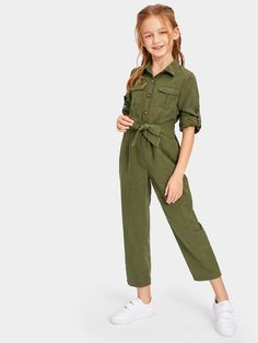 To find out about the Girls Button & Pocket Front Belted Jumpsuit at SHEIN, part of our latest Girls Jumpsuits ready to shop online today! Girls Fashion Clothes, Teen Fashion Outfits, Little Girl Fashion, Kids Fashion, Tween Girls Clothing, Cute Girl Outfits, Kids Outfits Girls, Cute Outfits For Kids, Cute Clothes For Kids