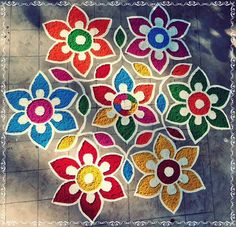 Colors adding to the beauty of this Rangoli