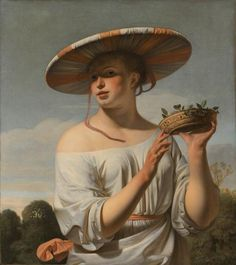 'Girl with Large Hat' (also known as 'Augusta') depicts a young woman wearing an exotic broad-rimmed hat in bright sunlight. She is wearing a white off-the-shoulder dress in satin and is holding up a woven balance of plums in her left hand. A 17th-century masterpiece by Cesar van Everdingen (1645-50). www.rijksmuseum.nl
