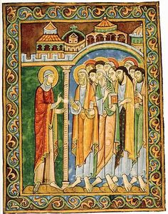 Mary Magdalen announcing the resurrection to the apostles (St. Albans Psalter, St Godehard's Church, Hildesheim)