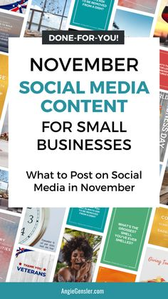 Inside this post, you'll discover what content to post on social media in November. You'll learn 5 ways to get more engagement and how to quickly and easily create content for the entire month. #socialmediamarketing #contentcreation #marketingtips #angiegensler