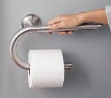 This MOEN grab bar doubles as a paper holder and can hold up to 250lbs. Add safety to your home without sacrificing design.