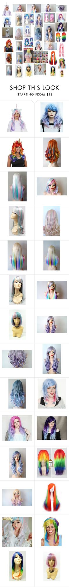 """""""Unicorn and Pastel Rainbow Wigs"""" by mikahelaine ❤ liked on Polyvore featuring beauty, Buy Seasons, Cotton Candy, Rockstar Wigs, My Little Pony and Clair Beauty"""