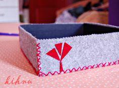 kihnu felt: keçe peçetelik /felt napkin box