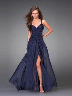 A-line V-neck Chiffon Floor-length Dress