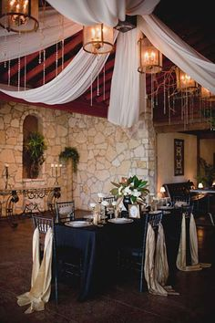 Ceiling Draping  art-deco-navyblue-wedding-ideas-24