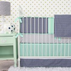 Caden Lane Mint & Navy Chevron Limited Edition Crib Bedding