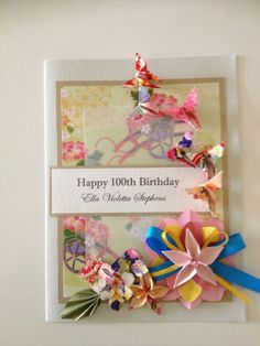 100th Birthday Card Chieko Hester Origami Greeting