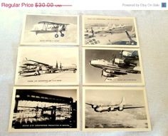 Vintage 6 Boeing Airplane Postcards ~ Real Photo Black and White Circa 1944 ~ B 29 PT 17 N2S5 ~ Aircraft Aviation Flying Plane Collectible by AVintageStore, $22.50