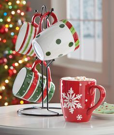 Holiday Coffee Mugs with Stand