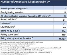 Number of Americans killed annually by... #stats #usa #guns