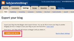 Backing up in Blogger.