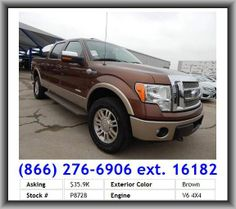 2011 Ford F-150 King Ranch Pickup  Automatic Locking Hubs, Fuel Consumption: Highway: 19 Mpg, Compass, Type Of Tires: At, Steel Spare Wheel Rim, 4-Wheel Abs Brakes, Radio Data System, Privacy Glass: Deep, Front And Rear Reading Lights, Front Shoulder Room: 65.9, Rear Door Type: Tailgate, Clock: In-Radio Display, Coil Front Spring, Front Fog/Driving Lights, Mp3 Player, Front Head Room: 41.0, Leaf Rear Spring, Double Wishbone Front Suspension, Tires: Prefix: P, Left Rear Passenger Door Type:
