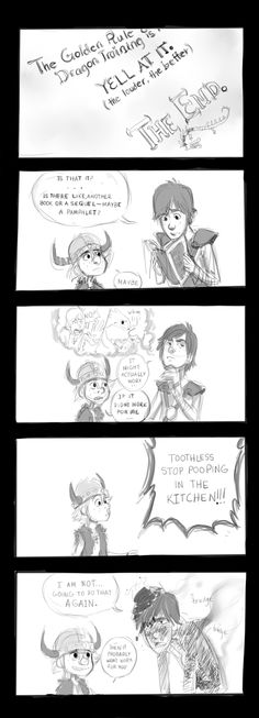 Hiccup from the books giving movie Hiccup some dragon training advice