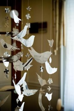 bird garland: Could make w/ transluscent milk cartons, florals sandwiched between sheets of waxed paper, various rice papers, etc.