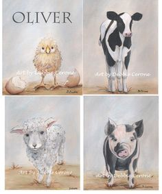 Personalized set of 4 Farm Animal Prints. by NurseryRembrandts