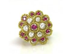 Estate 1.00 ctw Ruby & 0.60 ctw Diamond 18K Yellow Gold Ring Approx.Wt.