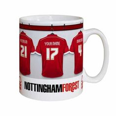 Personalise this fully licensed Nottingham Forest FC mug with any name of up to 12 characters and a number up to 3 digits onto the centre shirt. The mug itself is printed and decorated with a high quality glossy finish!  Team mates are - Reid 11, Paterson 21, Mancienne 4, Lansbury 10  Official Nottingham Forest Football Club Licensed Product. Players' and managers' names will be modified on this product to reflect any changes.  What's more, this fantastic gift can also be made and dispatched…