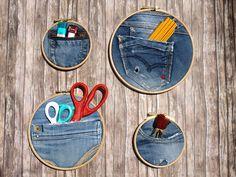 Diy - τσέπες από παλιά τζιν παντελόνια σε τελάρα κεντήματος!