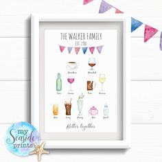 Personalised Family Tree Family Drinks Print - My Seaside Prints Personalised Family Print, Personalized Mother's Day Gifts, New Business Ideas, Business Gifts, Family Tree Print, Family Drawing, Diy Christmas Gifts, Christmas 2019, Rainbow Baby