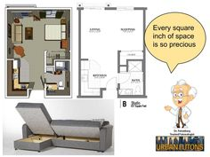 20ftx24ft Cabin or studio apartment layout Compact living spaces