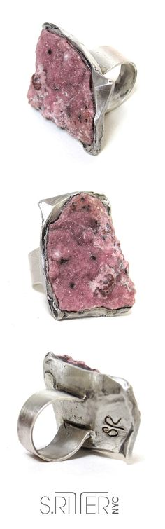 sprinkles of cobaltian calcite pinky druzy set in sterling silver ring makes the idea of eating rocks and minerals palatable. i mean, this looks tastier than icing on valentines day cake. lick lick. || raw natural stone rings || elegant and raw statement rings || SRitterNYC.com