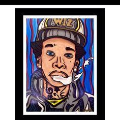 Acrylic on Wood Wiz Khalifa Celebrity Portrait Painting Rapper