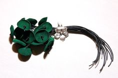 Leather BroochGreen Leather BroochContemporary by KiZoy on Etsy